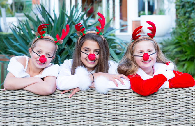 Children celebrate Christmas in luxury party house
